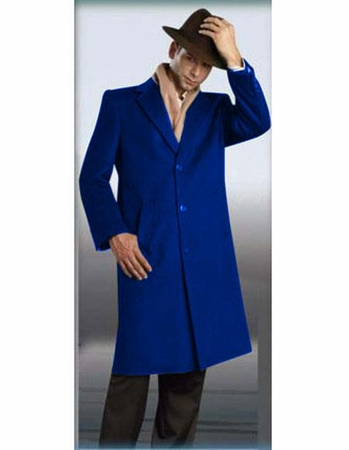 Mens Full Length Coat Royal Blue Plush Wool Alberto - click to enlarge