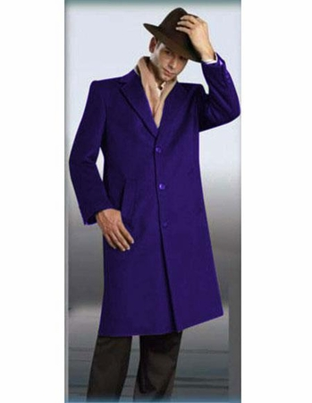 Mens Full Length Overcoat Indigo Blue Wool 3 Button Alberto - click to enlarge