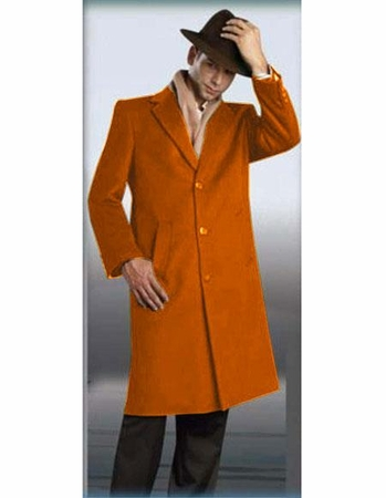 Mens Full Length Winter Coat Rust Wool Color 48 Inch Alberto - click to enlarge