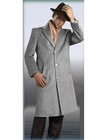 Mens Full Length Wool Coat Light Gray 48 Inch Alberto - click to enlarge