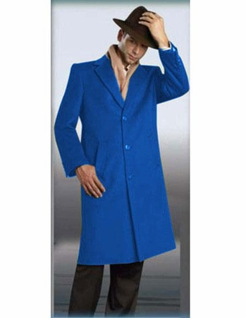 Mens Full Length Wool Overcoat Sapphire Blue Alberto - click to enlarge
