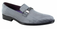 Mens Gray Pewter Velvet Designer Slip On Party Loafers AM 6753