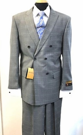 Mens Gray Plaid Double Breasted Suit 6 Button Alberto DB-1 - click to enlarge