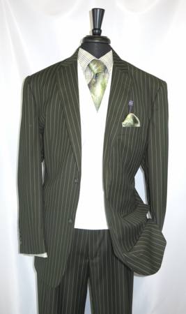 Mens Green Gangster Stripe 1920s Cotton Club Suit V2RS-6 - click to enlarge
