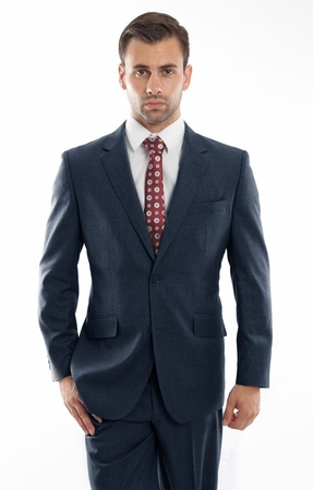 Mens Heather Blue Wool Modern Fit Suit 2 Button Pick Stitching ZeGarie MW246-04 - click to enlarge