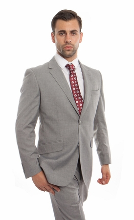Mens Heather Gray Wool Italian Style Suit Flat Front Pants Stitch ZeGarie MW246-05 - click to enlarge