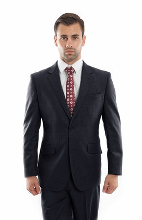 Mens Heather Navy Wool Modern Suit Two Button Plain Front Pants ZeGarie MW246-03 - click to enlarge