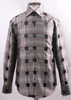 Mens High Collar Shirt Brown Fancy Square Pattern FSS1421