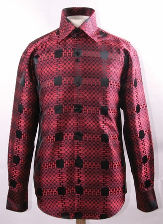 Mens High Collar Shirt Shiny Red Fancy Cube Pattern FSS1421 - click to enlarge