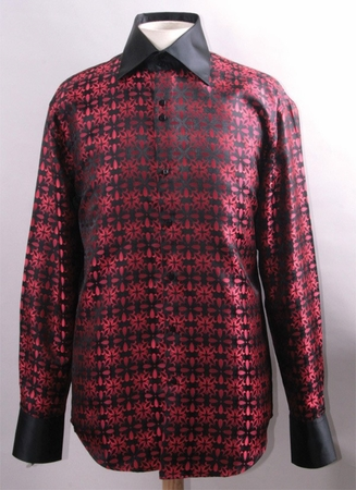 Mens High Collar Shirts Clubwear Exotic Pattern Black Red FSS1419 - click to enlarge