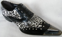 Zota Mens Black Leopard Leather Metal Pointy Toe Shoes G908-34