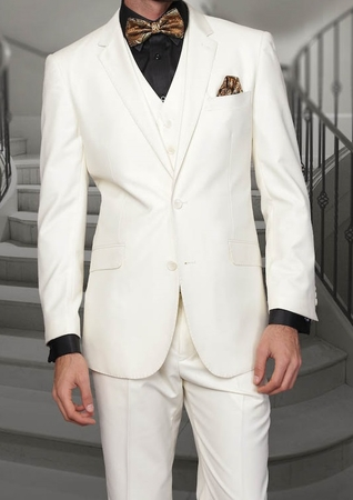 Mens Ivory Modern Fit Wool Suit 3 Pc. Flat Front Style Alberto S2BV-1 - click to enlarge