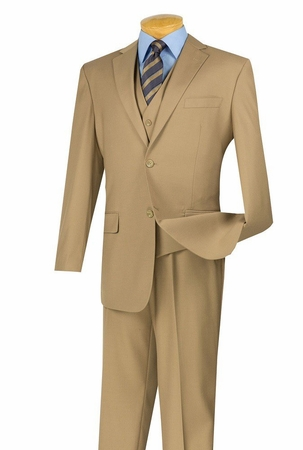 Mens Khaki 2 Button 3 Piece Suit Vinci NV2TR - click to enlarge