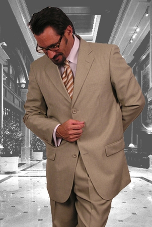 Mens Khaki Beige 3 Button Suit Wool Feel 3RS - click to enlarge