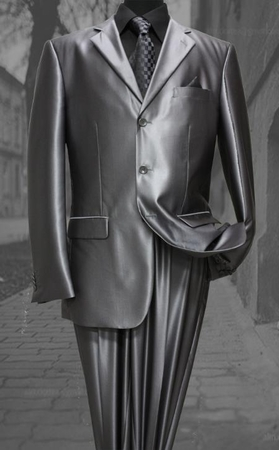 Mens Metallic Silver Sharkskin Suit 3 Button Fortini 58025 - click to enlarge