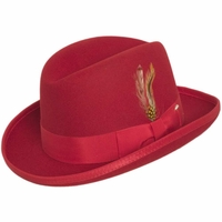 Homburg Dress Hat Men's Red 100% Wool Brim 4201
