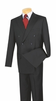 Mens Navy Blue Double Breasted Suit Pleated Pants Super 150s Vinci DC900-1