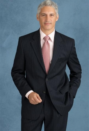Mens Navy Blue Pinstripe 2 Button Suit 2 Piece 2RS-16 - click to enlarge