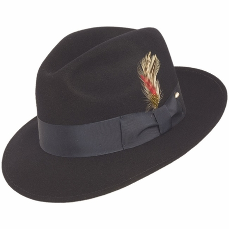 Mens Navy Fedora Hat 100% Wool Untouchable Dress Hat 8345 - click to enlarge