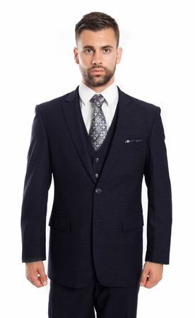 Mens Navy Mini Check Fine Super 150s Wool 3 Piece Suit ZG MW248-02 - click to enlarge
