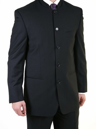 Ferrecci Black Mandarin Collar 5 Button Modern Fit Suit - click to enlarge