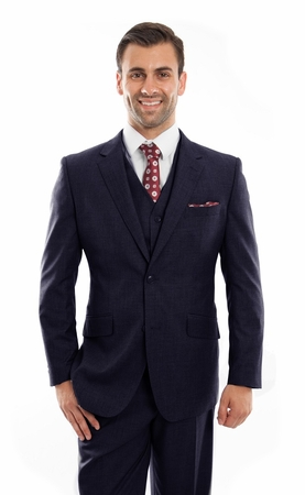 Mens Navy Wool Three Pc. Suit Flat Front Pants ZeGarie MW249 - click to enlarge