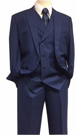 Mens New Blue Fashion Suit Faint Plaid DB Vest  3 Piece Ferara 3801 IS - click to enlarge