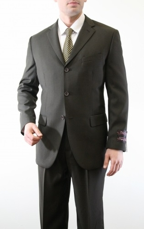 Mens Olive Green 3 Button Suit Pleated Pants Tazio M103 - click to enlarge