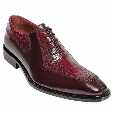 Mens Ostrich Top Shoes by Belvedere Burgundy Red Shoes Dino 0B1 - click to enlarge