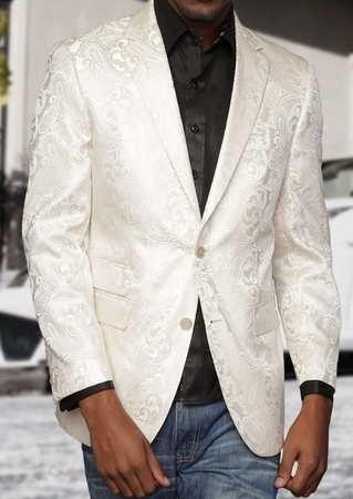Mens Paisley Blazers Ivory Mens Dinner Jacket Paisley-100 - click to enlarge