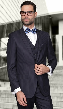 Mens Pinstripe Navy 3 Piece Suit Flat Front Pants Vittorio T62RS - click to enlarge