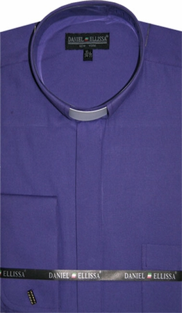 Mens Purple French Cuff Clergy Shirt by Daniel Ellissa DS3007R - click to enlarge
