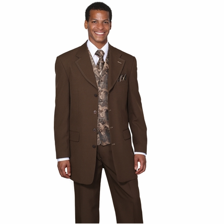 Mens Dress Suits by Milano Moda Brown Fancy Vest 3 Piece 6903V - click to enlarge