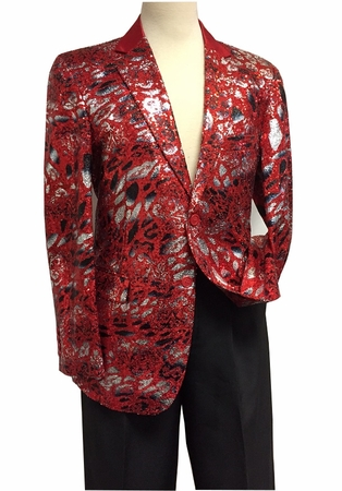 Mens Red Sequin Entertainer Blazer Performer Stage Jacket 5816 IS - click to enlarge