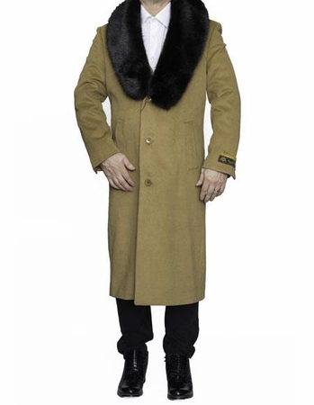 Mens Removable Fur Collar Camel Full Length Wool Top Coat Alberto - click to enlarge