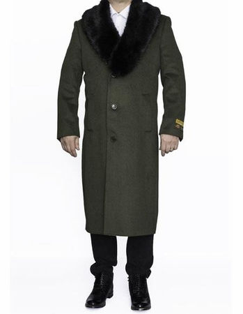 Mens Removable Fur Collar Full Length Wool Dress Olive Green Top Coat Alberto - click to enlarge