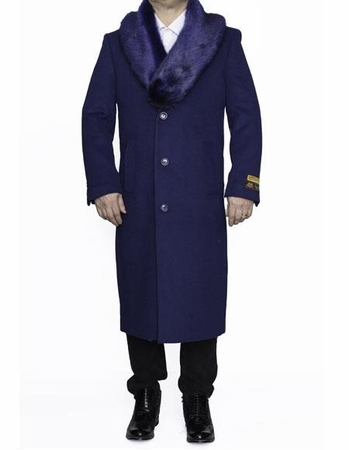 Mens Removable Fur Collar Indigo Blue Full Length Wool Top Coat Alberto - click to enlarge