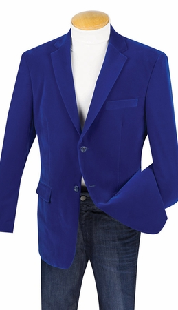 Mens Royal Blue Velvet Jacket 2 Button Regular Fit Vinci B-19 - click to enlarge