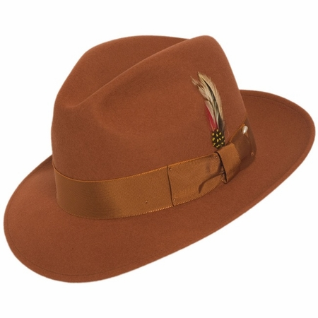 Mens Rust Fedora Hat 100% Wool Untouchable Dress Hat 8345 - click to enlarge