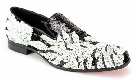 Mens Sequin Entertainer Loafer Black White Sequin AM 6733 - click to enlarge
