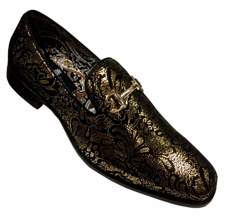 Mens Shiny Gold Paisley Smoker Slip On Entertainer Shoes AM 6682 - click to enlarge