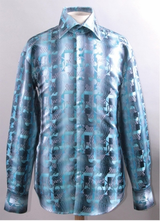 Mens Shiny High Collar Shirt Turquoise Paisley FSS1423 - click to enlarge
