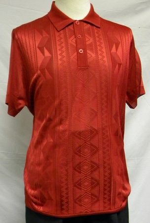 Mens Shiny Knit 1960s Style Casual Shirt by Pronti Red 6234 - click to enlarge