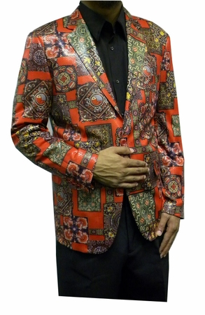 Pronti Mens Fancy Style Blazers Red Medieval Pattern B6195 - click to enlarge
