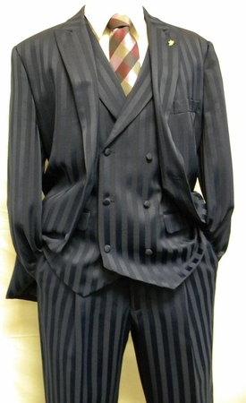 Mens Blue Shiny Stripe Dress Suit by Falcone Mat Vested 380-102 OS - click to enlarge