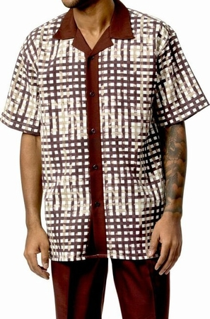 Mens Short Sets by Montique Brown Geo Plaid 730 - click to enlarge