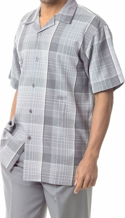 Mens Short Sets by Montique Grey Bold Plaid 741 - click to enlarge