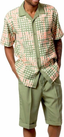 Mens Short Sets by Montique Olive Geo Plaid 730 - click to enlarge