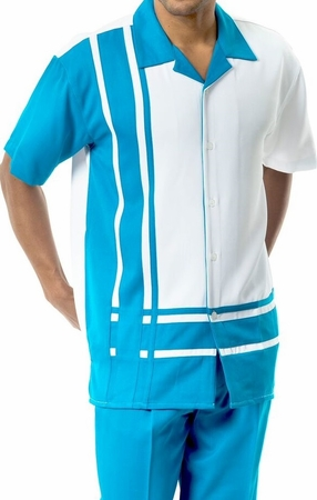 Mens Short Sets by Montique Teal White Panel 177 - click to enlarge