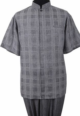 Mens Short Sleeve Chinese Collar Gray Walking Suit Fortino M2958 - click to enlarge